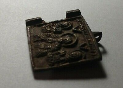 Bronze pectoral medieval icon. Relic Orthodox Christian Old 1400-1700 AD