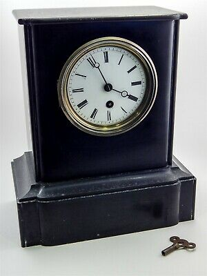 Antique French JAPY FERES Black Slate Exposition 1855 Mantle Clock W Key Works