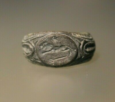 Ancient Fantastic Roman Bronze Legionary Ring * Lion 1st - 4th century AD