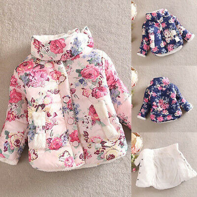 Fashion Baby Kids Girls Winter Cotton Thick Floral Bow Coat Jackets Outerwear