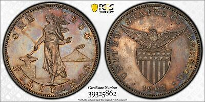 Us Philippines One Peso 1903 Proof Pcgs Unc Details Cleaned, Nice Toning