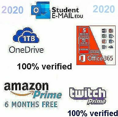 Edu Email Student /OUTLOOK LOGIN/6 Month Amazon Prime/1TB ONE DRIVE/Office 365