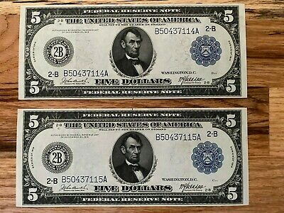 1914 $5 Federal Reserve Note Consecutive Notes!!