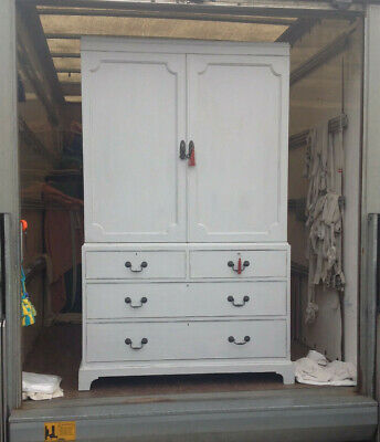 Painted linen press armoire chest of drawers
