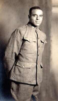 RPPC real photo Black Americana WW1 African American young man,soldier,doughboy,