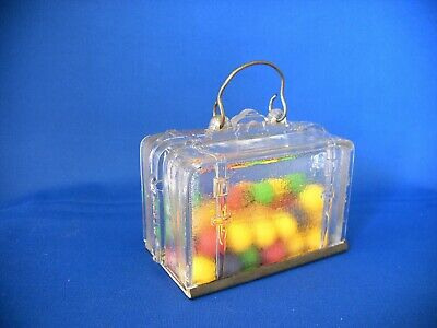 Antique Vintage Glass & Tin Toy Luggage Suitcase Candy Container Circa 1907