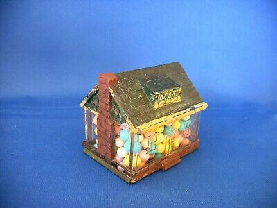 Vintage Glass & Tin Toy House Wth Chimney Candy Container