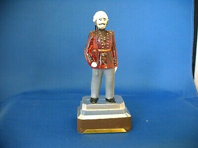 Antique Vintage Clear Glass & Tin Toy Soldier With Sword Candy Container 1920