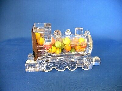 Vintage Glass & Tin Toy Locomotive Train New York Central Candy Container 1923