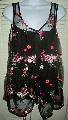 Womens Floral Sheer Button Front Embroidered BABY DOLL Top Blouse BLACK Sz L NWT