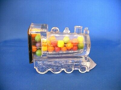 Antique Glass & Tin Toy Train Locomotive Lithograped # 3 Candy Container 1914