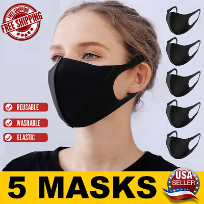 5-Pack Washable Reusable Breathable Black Face Mask