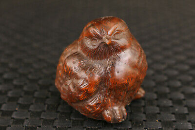 collection rare chinese old boxwood hand carved bird figure statue hand piece