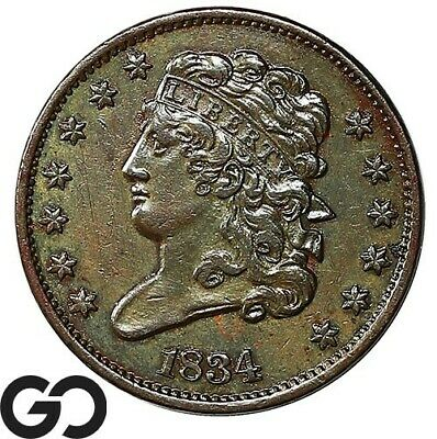 1834 Half Cent, Classic Head, Nice Early Collector Copper