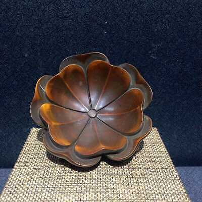 AAA Collectable China Old Boxwood Hand-Carve Delicate Lotus Leaf Inkstone Statue