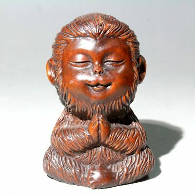 Collectable China Old Boxwood Hand-Carved Monkey Interesting Unique Chic Statue