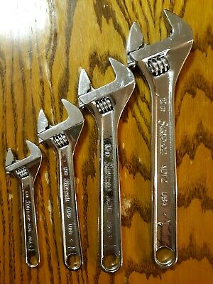 """Set Of Four Snap-On Adjustable Wrenches Sizes 6"""" To 12"""""""