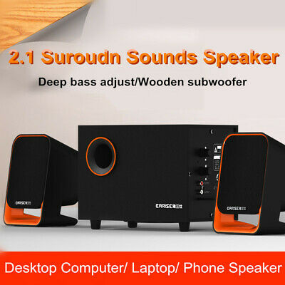 2.1 Computer Speakers 3D Surround Sound Stereo Speaker Subwoofer Bass for  !