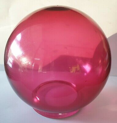 Antique Hand-Blown Globe Cranberry Glass Light Shade
