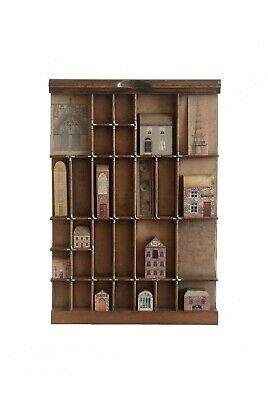 Lovely Collection of Miniature Wooden Buildings in an old Vintage Printers Tray
