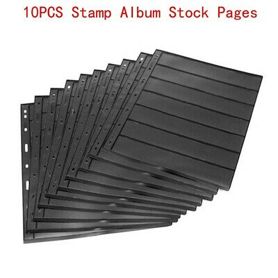 Stamp Album Stock Pages Double Sided Pack of 10 Pages with 9 Binder Holes RH