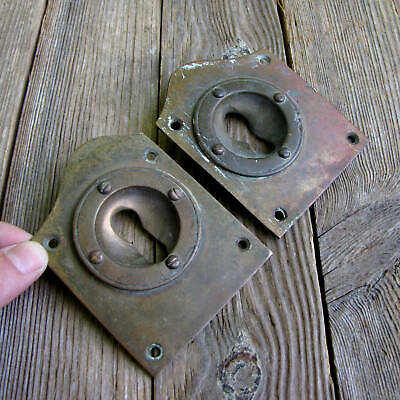 2x Antique Brass Keyhole Surrounds / Open Escutcheons