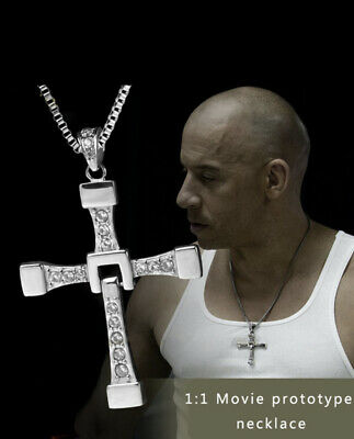 Titanium Fast and Furious movie Dominic Toretto's Cross Pendant Necklace Fresh !