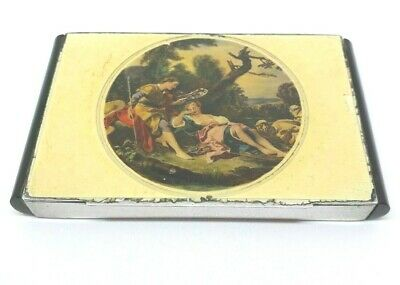 Exquisite Antique Painted Enameled Silver Cigarette/Snuff Box 1934  ref 605