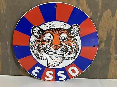 12in ESSO PUT TIGER IN Your TANK GASOLINE PORCELAIN SIGN OIL GAS