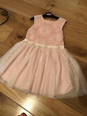Next Girls Dusky Pink Floral Detail Party Dress Age 3-4 Year Good Condition