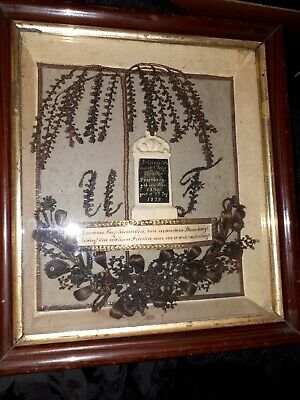 Antikes Haarbild von ~1876 Haararbeit Antique victorian hairwork dated&named