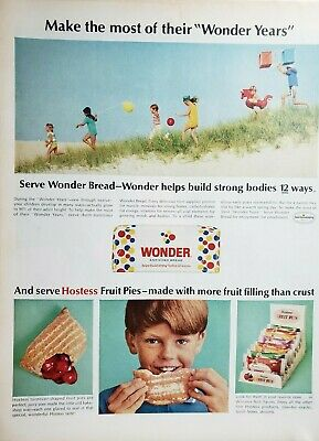 Lot of 3 Vintage Hostess Fruit Pies and Wonder Bread Ads
