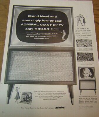 """Lot of 3 Vintage 1960's Admiral TV Print Ads Happy Mediums Portables 21"""" Giant"""