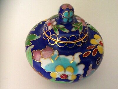 20th CENTURY WIRE CLOISONNE ENAMELLED GINGER JAR / LIDDED 2'' Tall Original