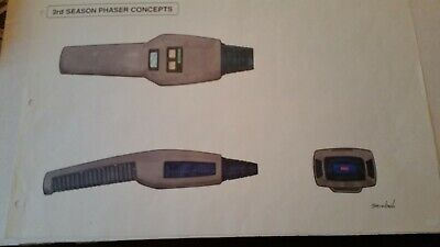Star Trek TNG Richard Sternbach Season 3 Phaser Concept Production Sketch