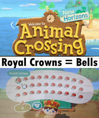 Animal Crossing New Horizons 17, 40, 60, 80 Royal Crowns! (Sell for Bells)