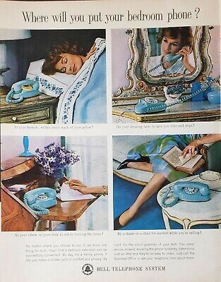 Lot 3 Vintage 1960's Bell Telephone Long Distance Print Ads Bedroom Phone