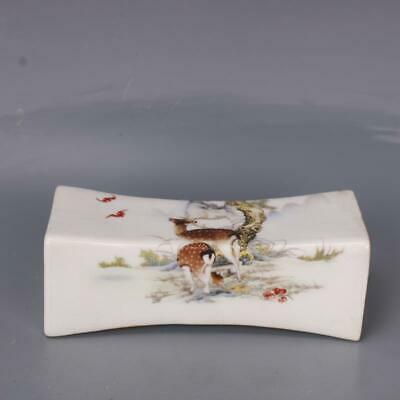 Daming Years Collect Ancient Color Porcelain Painting Sika Deer Bat Noble Pillow