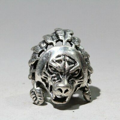 Collection China Old Miao Silver Hand-Carved Primitive Man Chic Interesting Ring
