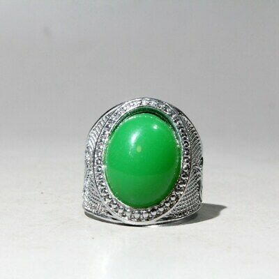Collectable China Miao Silver Agate Handwork Carve Beautiful Delicate Noble Ring