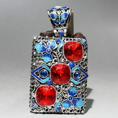 Collectable China Agate Miao Silver Cloisonne Hand-carve Noble Beautiful Pendant