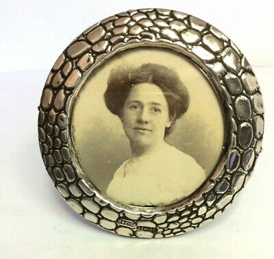 Antique SILVER PHOTO PICTURE FRAME Miniature Edwardian Marion & Co 1904 crocodil
