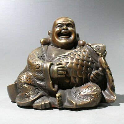 Collectable China Old Copper Hand-Carved Buddha Embraced Fish Bring Luck Statue