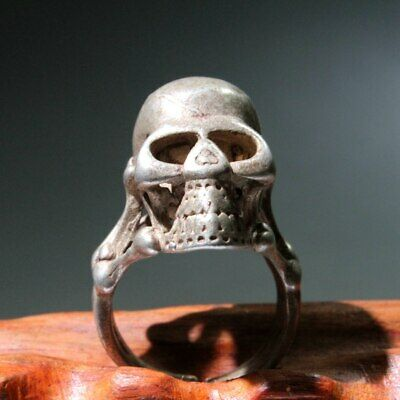 Collect China Old Miao Silver Hand-Carved Skull Head Exorcism Auspicious Ring