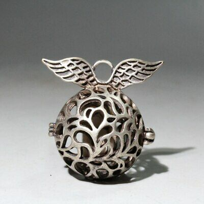 Collectable China Old Miao Silver Carve Wing Delicate Unique Hollow Out  Pendant
