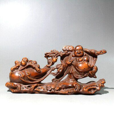 Collect China Old Boxwood Hand-Carved Abdominous Buddha Auspicious Unique Statue