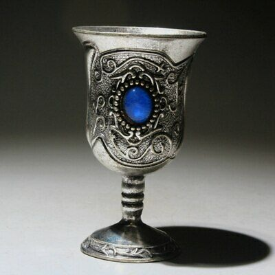 Collectable Chinese Old Royal Miao Silver Mosaic Agate Delicate Noble Wine Cup