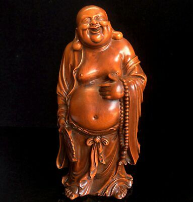 Collectable China Old Boxwood Hand-Carved Buddha Bring Auspicious Unique Statue