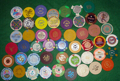 Large Lot Of 50 Casino Chips, Various Locations And Denominations