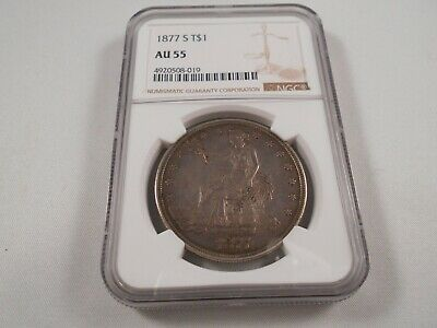 1877-S US Silver Trade Dollar $1 - NGC AU-55 Toned; Features Displayed Well